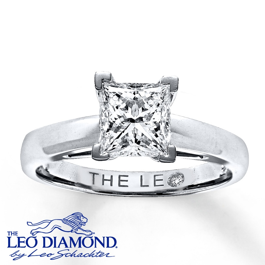 Email Leo Diamond Solitaire 1 12 ct Princess-cut 14K White Gold Ring