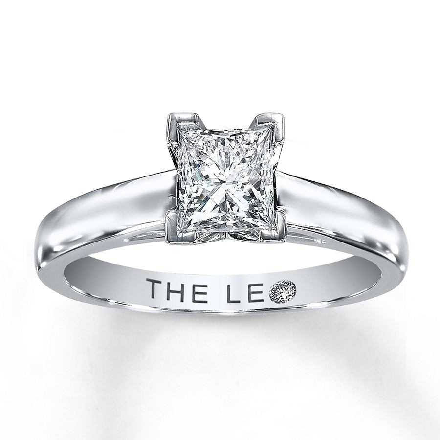 Leo Diamond Artisan Ring 1 Carat Princess Cut 14k White