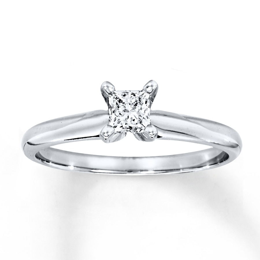 d0c361759f786 Diamond Solitaire Ring 1/3 Carat Princess-Cut 14K White Gold