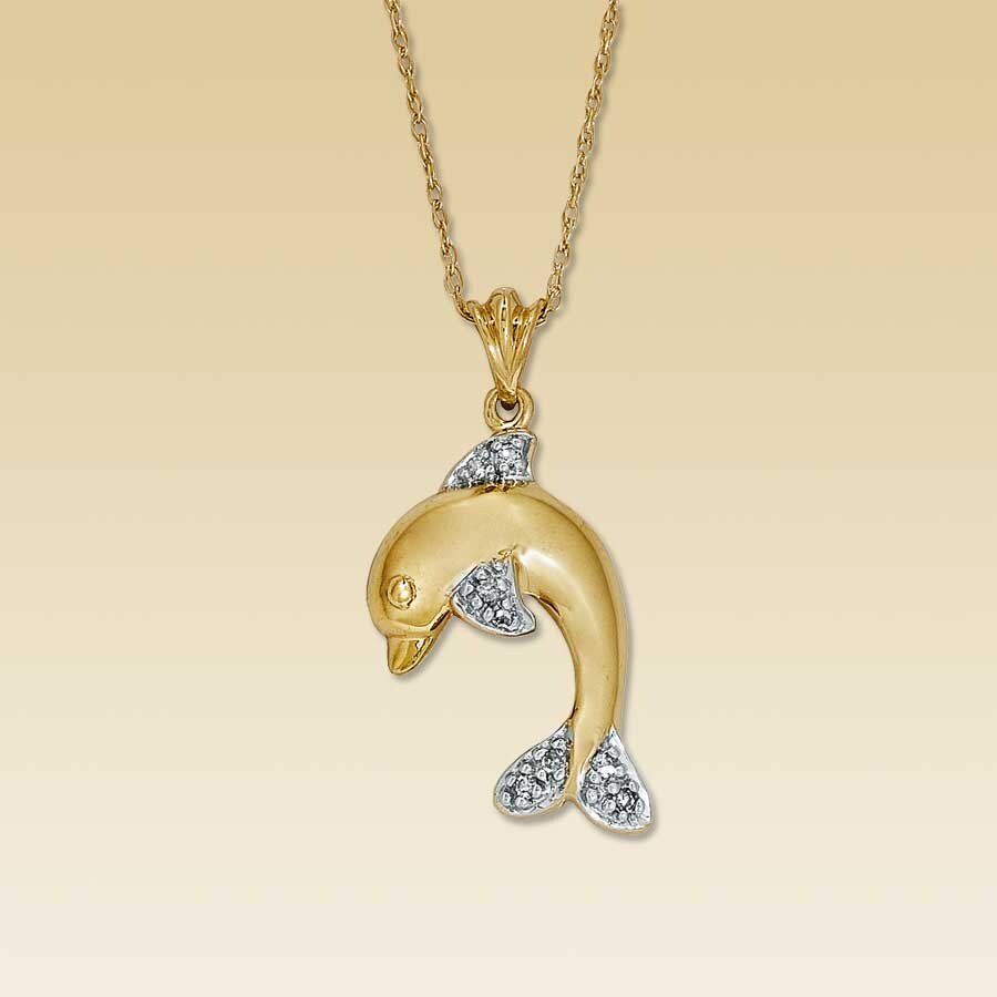 Kay clearance 14k yellow gold diamond dolphin necklace 14k yellow gold diamond dolphin necklace aloadofball