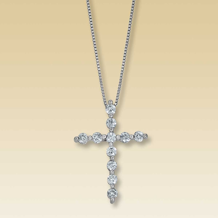 Kay clearance 18k gold 12 carat tw diamond cross necklace hover to zoom audiocablefo