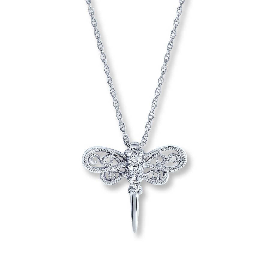 Kay Clearance 14K White Gold Diamond Dragonfly Necklace