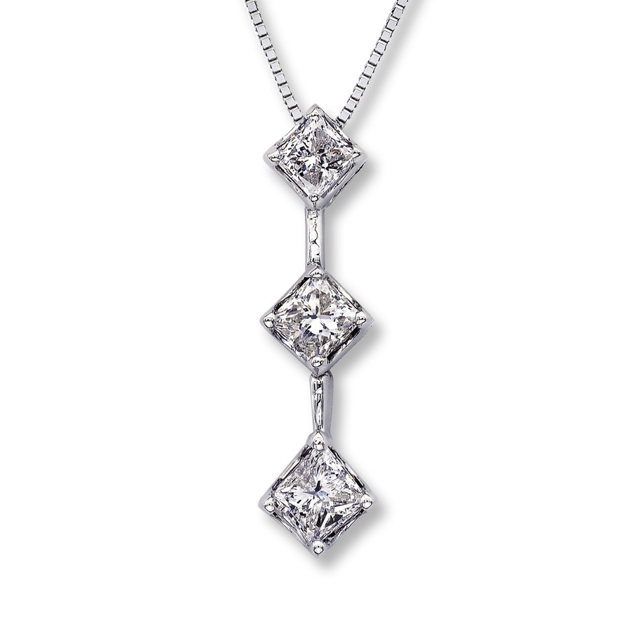 princess pendant cut necklace diamond ct