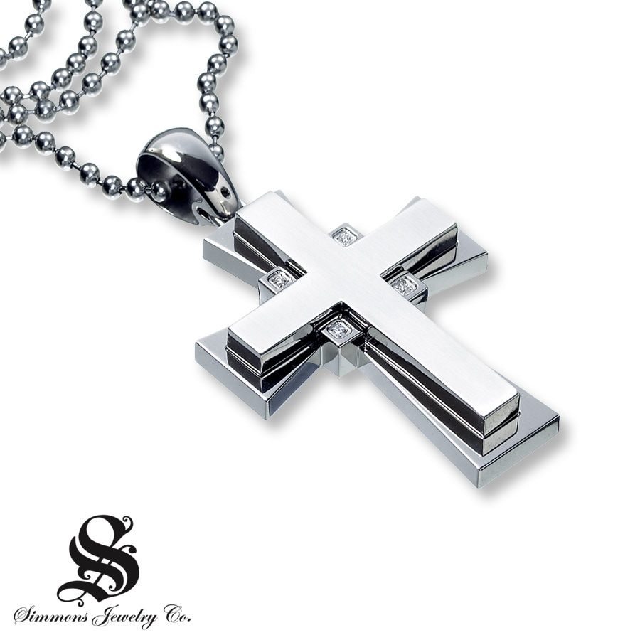 cross pendant 1 10 ct tw cut stainless