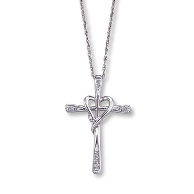 Diamond Cross Necklace Round-Cut 10K White Gold Kay Jewelers