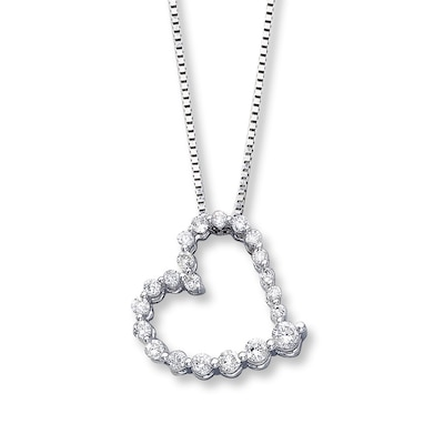 Diamond Heart Necklace 1/2 ct tw Round-cut 14K White Gold Kay Jewelers