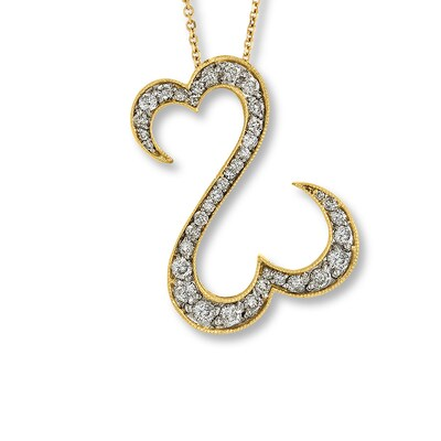 Open Hearts Necklace 1 ct tw Diamonds 14K Yellow Gold Jane Seymour