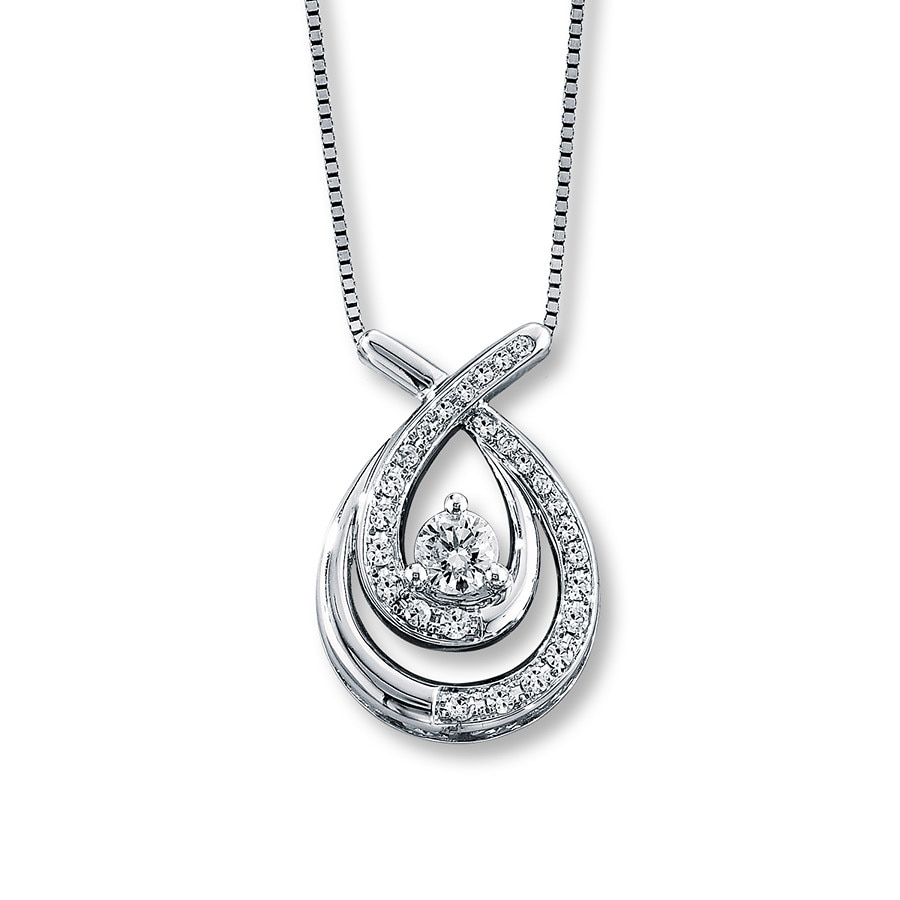 ct diamonds jewelers l silver open kay key tw diamond necklace sterling hearts heart