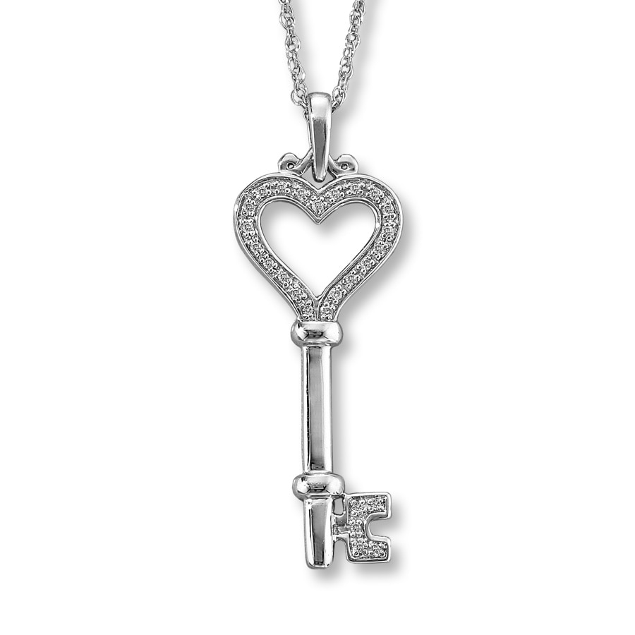 Kay Diamond Key Necklace 115 ct tw Roundcut Sterling Silver