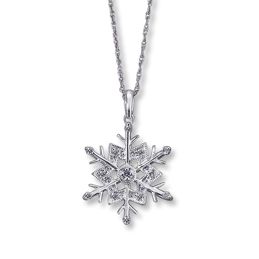 Diamond Snowflake Pendant 1 10 Ct Tw Round Cut Sterling