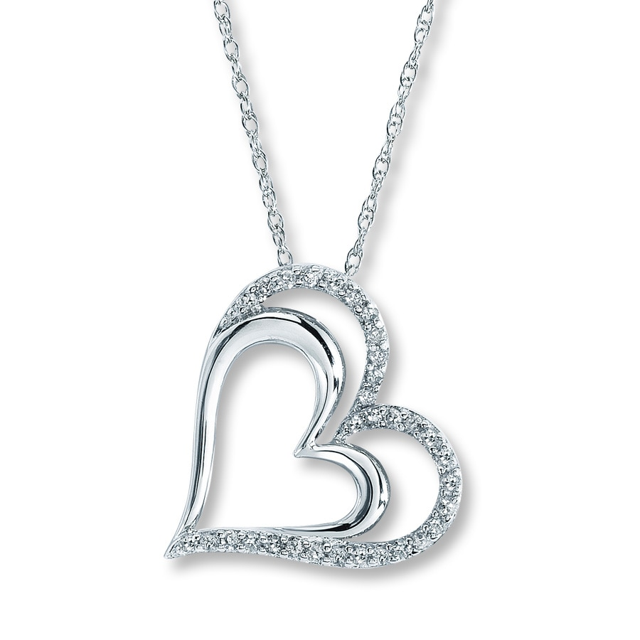 Kay Diamond Heart Necklace 14 ct tw Roundcut Sterling Silver