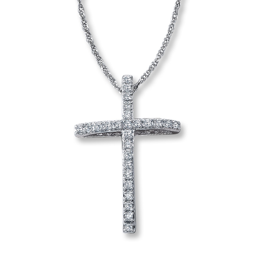 Kay diamond cross necklace 18 ct tw round cut 10k white gold hover to zoom mozeypictures Gallery