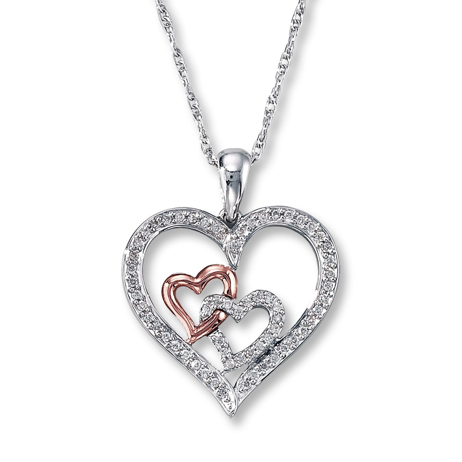 kay diamond heart necklace 1 4 ct tw sterling silver 10k. Black Bedroom Furniture Sets. Home Design Ideas