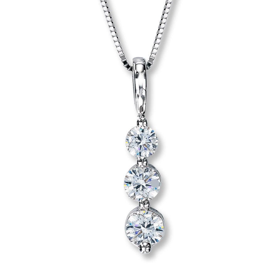 Kay 3 stone diamond necklace 34 ct tw round cut 14k white gold hover to zoom aloadofball