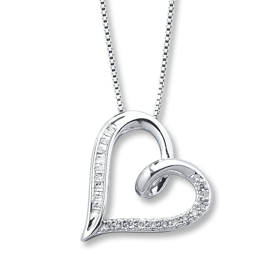 silver necklace sterling collections bradley pendant diamond jc products heart jewellers
