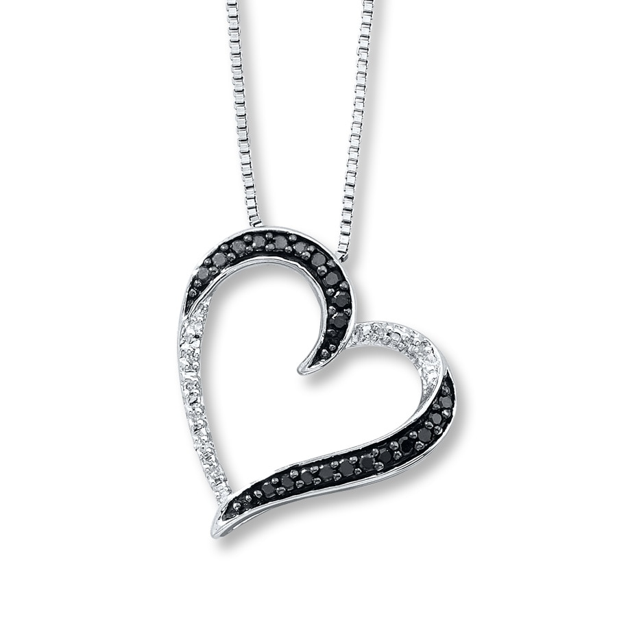 Artistry Diamonds Diamond Necklace 1/10 ct tw Black/White Sterling Silver sOnsub