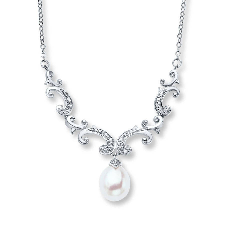 pearl diamond estate white gold necklace grey karat silverscape img products