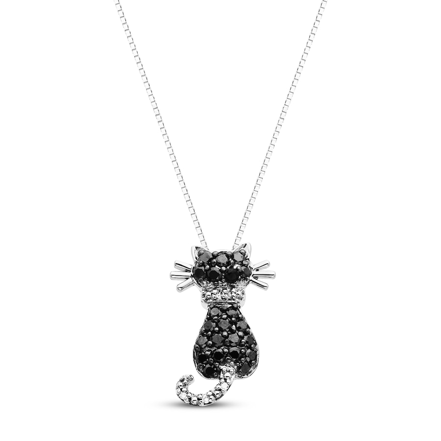 Black Cat Necklace 1 3 Ct Tw Diamonds 10k White Gold