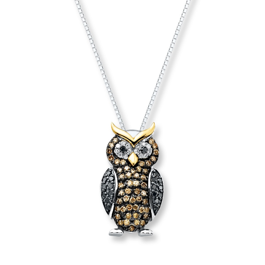 Artistry Diamonds Owl Necklace 1/8 ct tw Diamonds Sterling Silver qgGiv