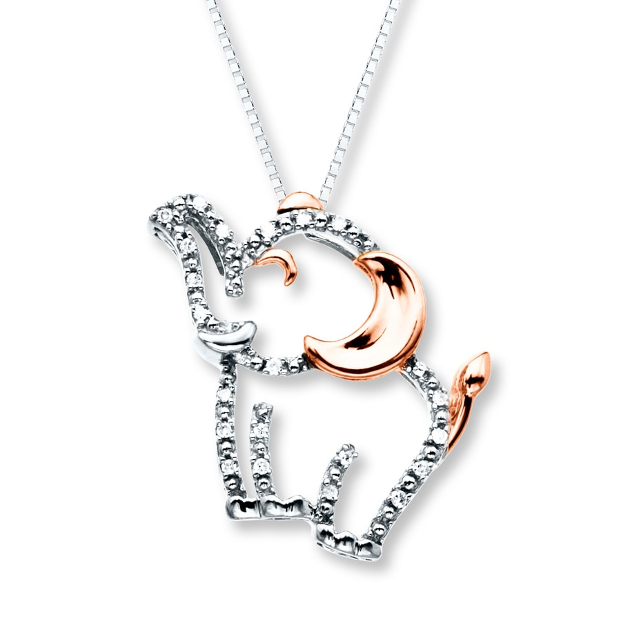 Elephant Necklace 1/20 ct tw Diamonds Sterling Silver/10K Gold ...