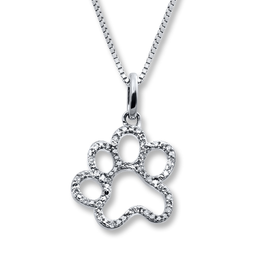 Kay paw print necklace 115 ct tw diamonds sterling silver hover to zoom aloadofball
