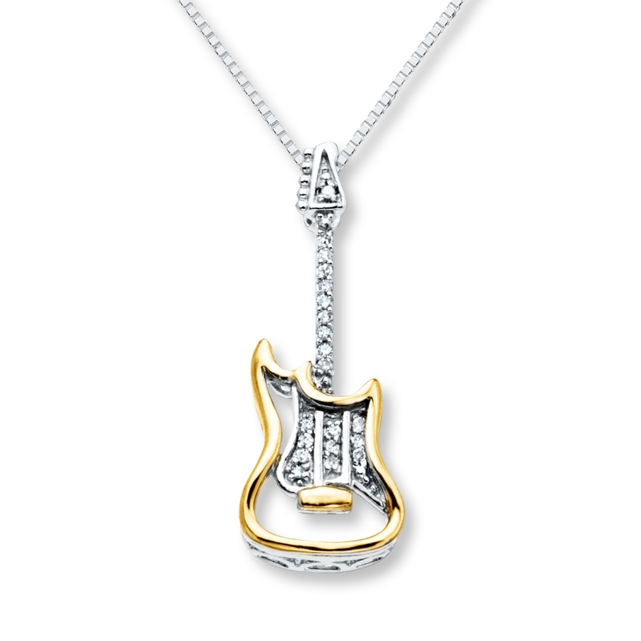 yellow polished guitar spinning wheel diamond index necklace gold