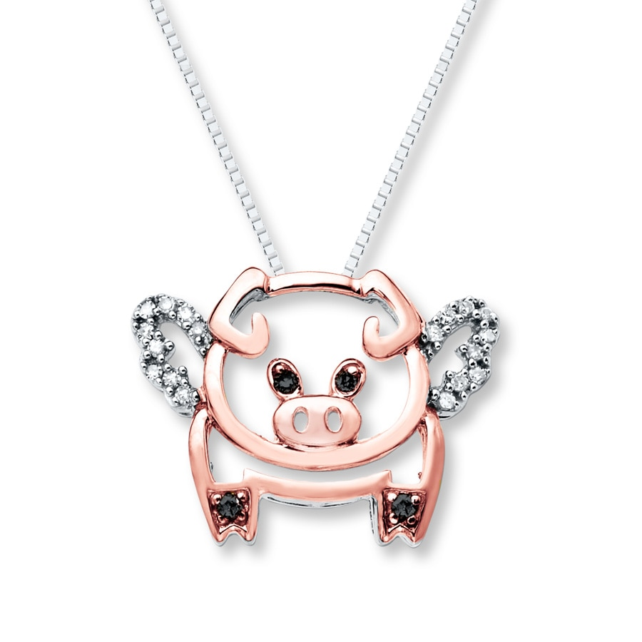 Flying Pig Necklace 1 10 Cttw Diamonds Sterling Silver 10k