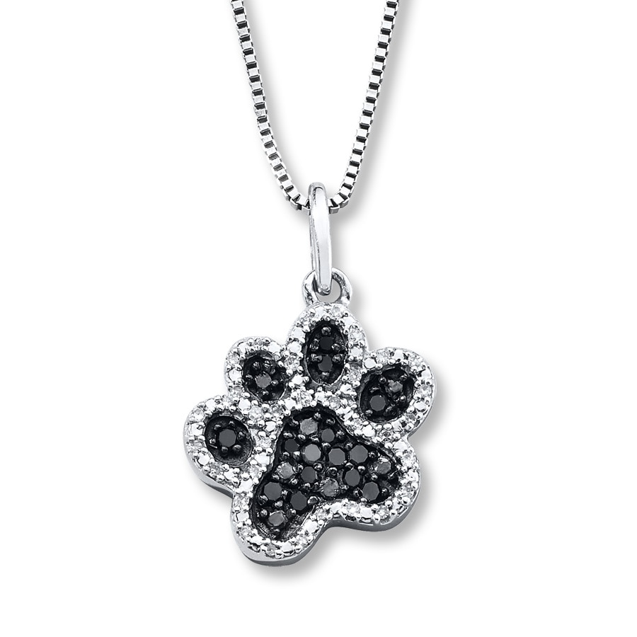 Black White Diamonds 1 5 Ct Tw Paw Necklace Sterling
