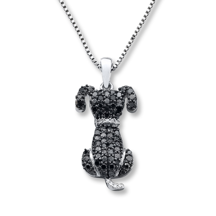 Kay blackwhite diamonds 16 ct tw dog necklace sterling silver hover to zoom mozeypictures Choice Image
