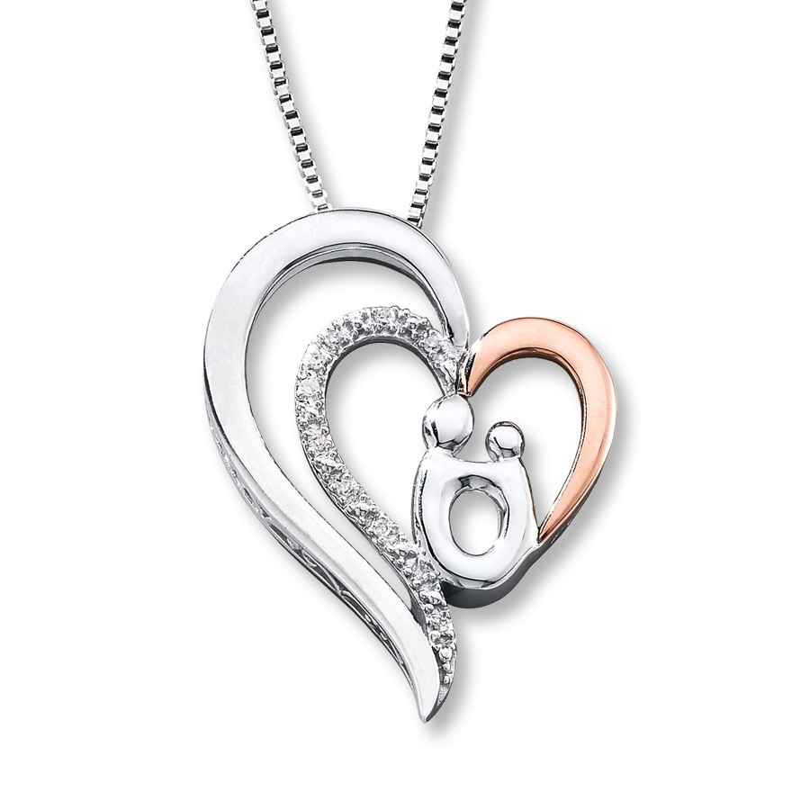 family pendant bling gold byj necklace rose jewelry vermeil mother heart child silver