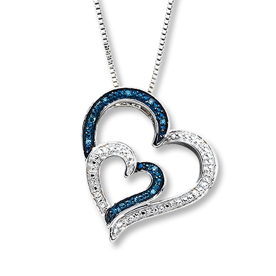 Artistry Diamonds Blue & White Diamonds 1/4 ct tw Necklace Sterling Silver PhRQv
