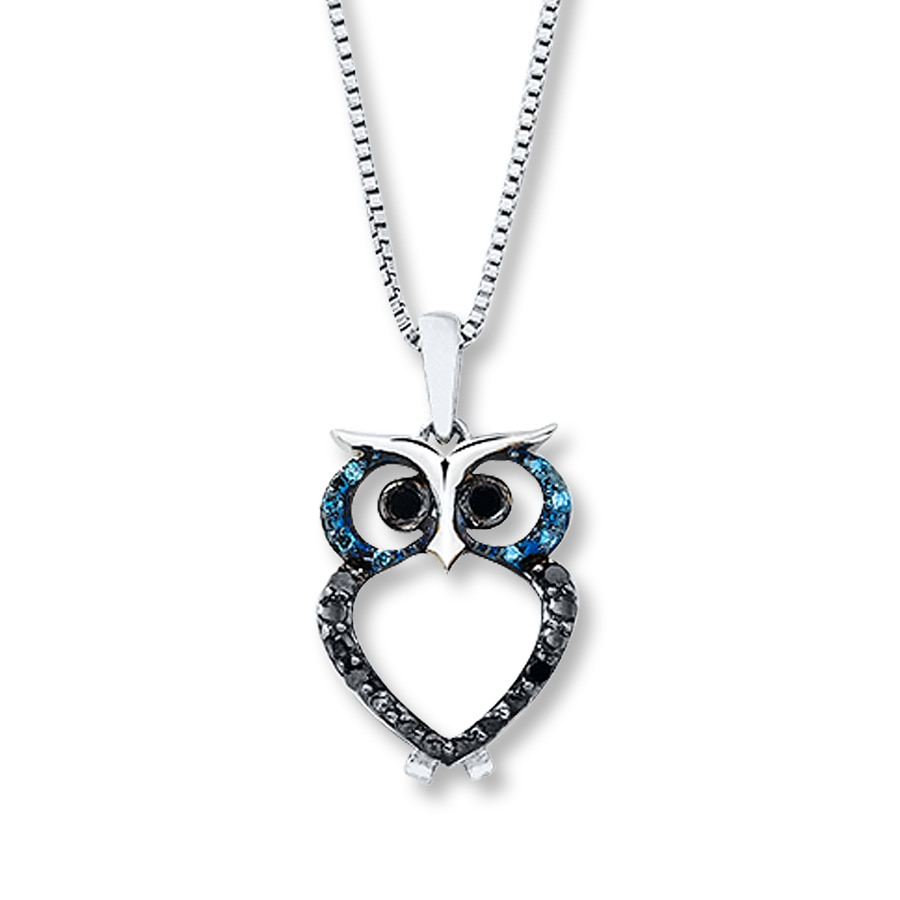 Artistry Diamonds Blue/White Diamonds Sterling Silver Necklace QQ0xR