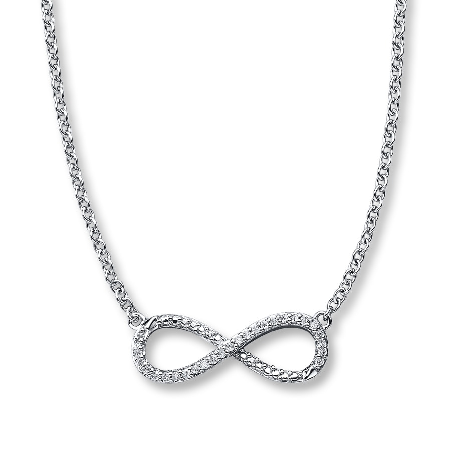 Kay diamond infinity necklace 110 ct tw round cut sterling silver hover to zoom mozeypictures Choice Image
