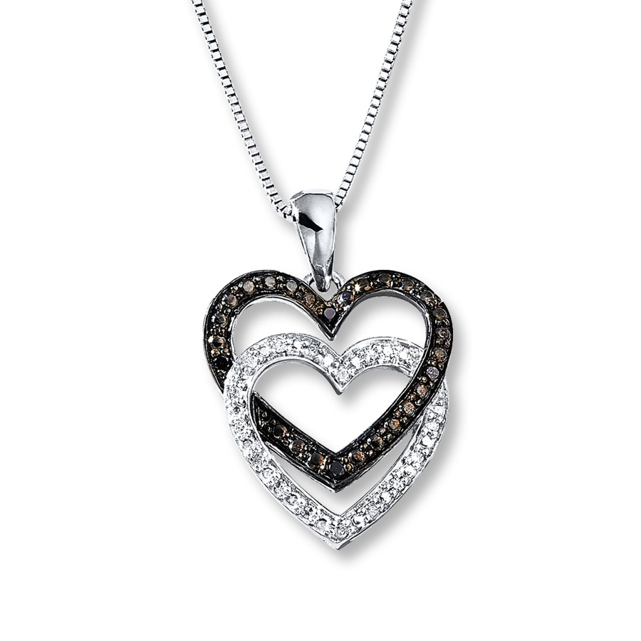 Artistry Diamonds Heart Necklace Black/White Diamonds Sterling Silver