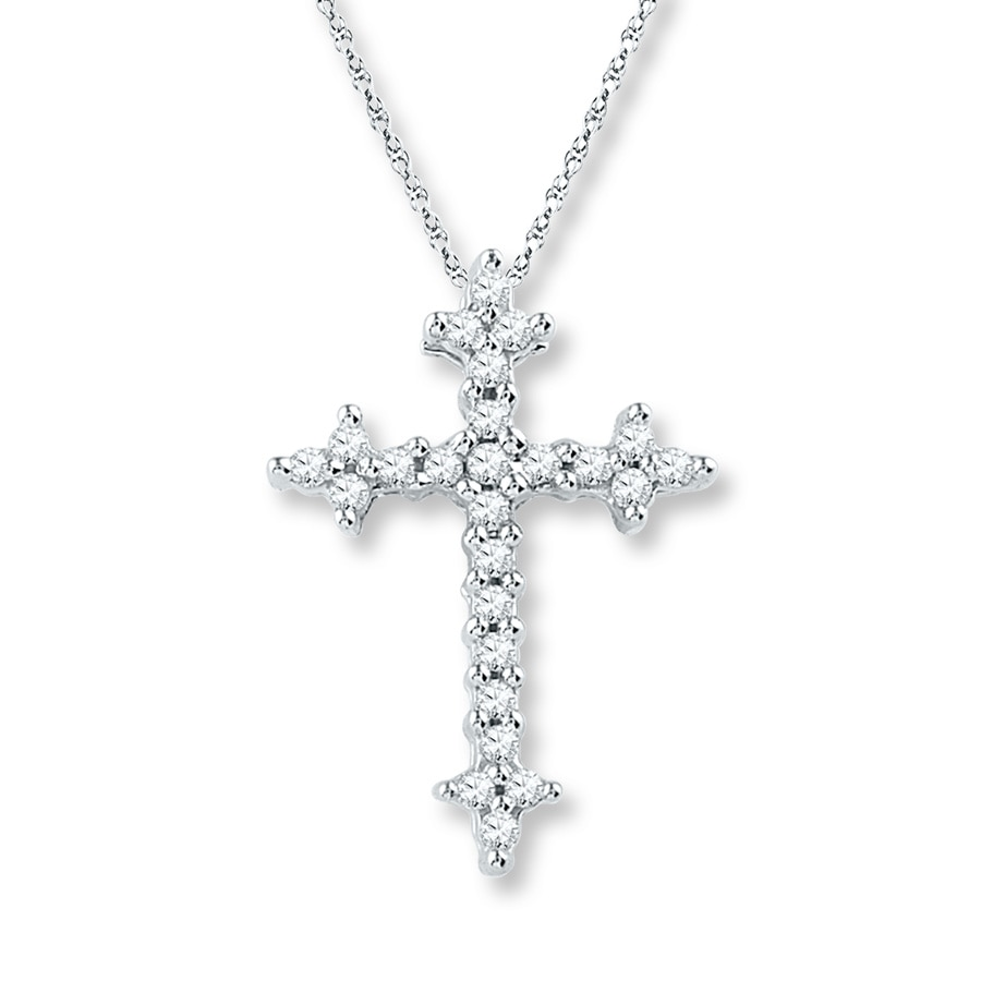 Diamond Cross Necklace 1 8 Ct Tw Round Cut 10k White Gold