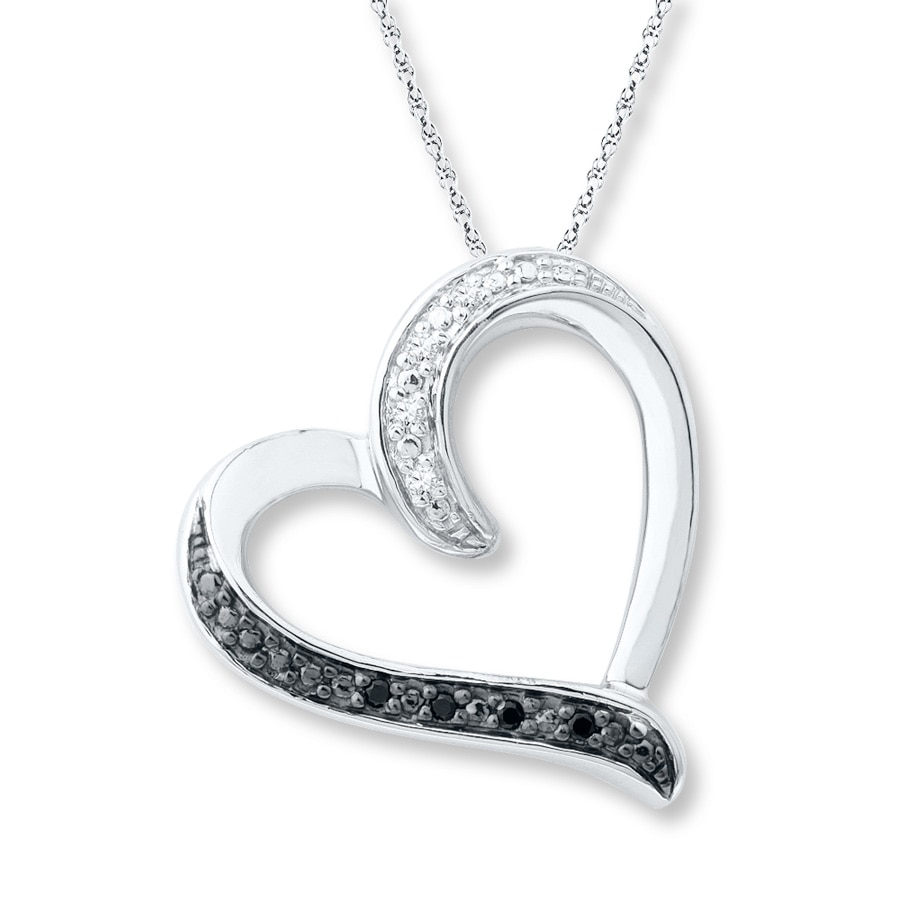 Heart Necklace Black and White Diamonds Sterling Silver - 172919007 ...