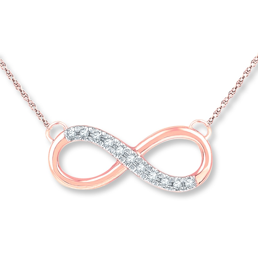 Kay infinity diamond necklace 120 ct tw round cut 10k rose gold hover to zoom mozeypictures