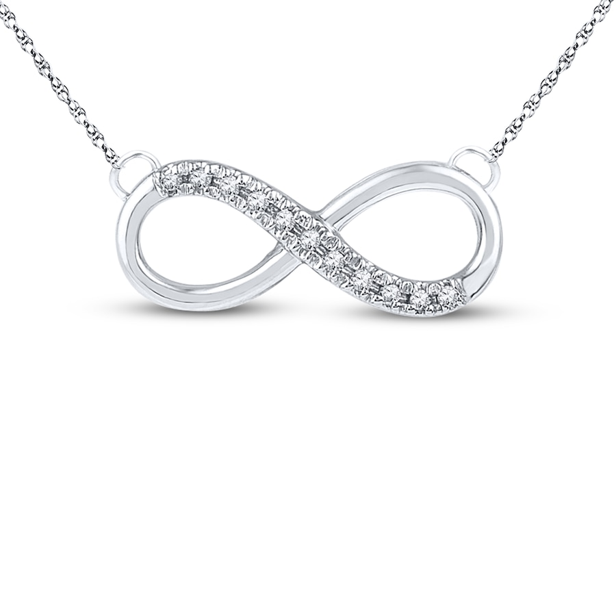 Kay Diamond Infinity Necklace 1 20 Ct Tw Round Cut 10k
