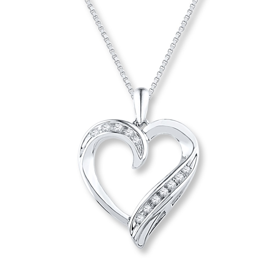Silver Heart: Diamond Heart Necklace 1/10 Ct Tw Round-cut Sterling