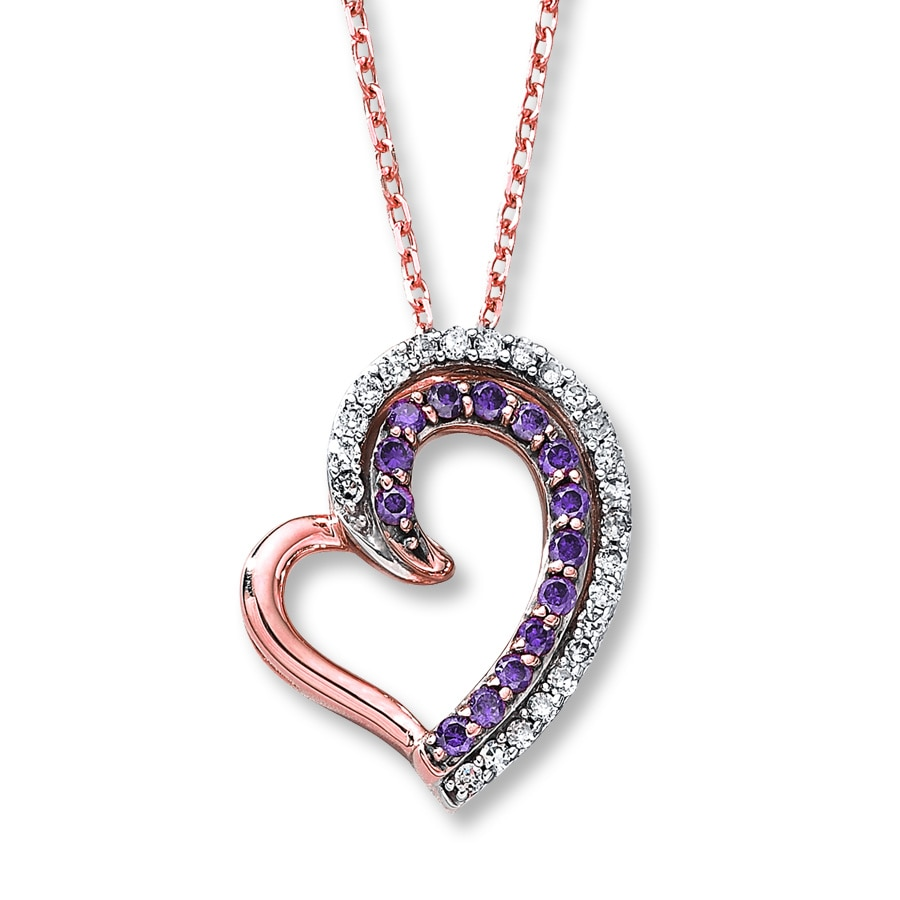 and rose gold purple pendant amethyst diamond p m