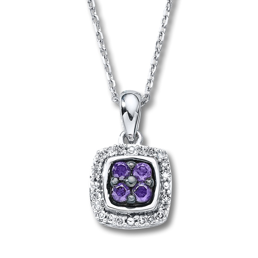 purple silver sterling in diamond treated primary ladies pendant