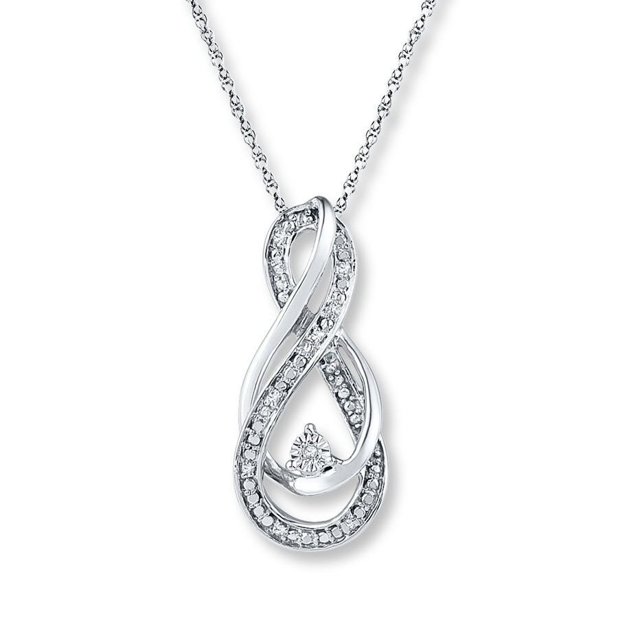 diamonds zm heart en mv sterling necklace ct infinity kay kaystore silver sign tw