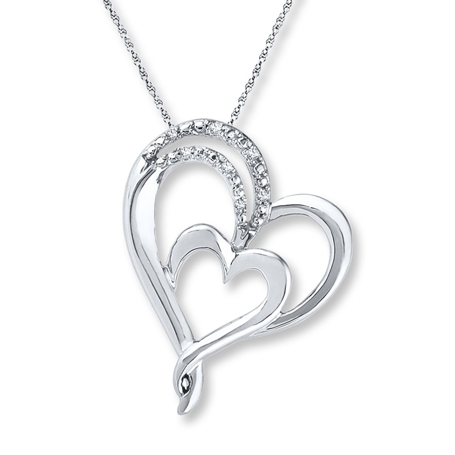 silver dp heart diamond sterling quot com amazon necklace double cttw pendant