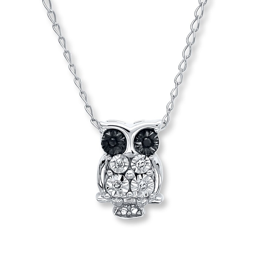 Young Teen Owl Necklace Diamond Accents Sterling Silver