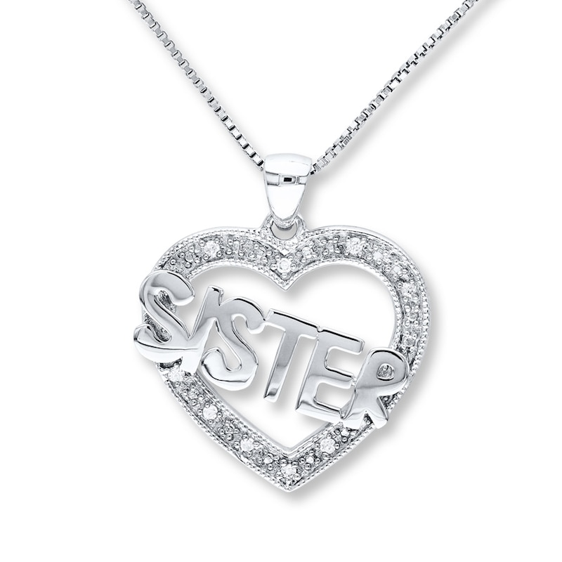 Sister Heart Necklace 1 20 Ct Tw Diamonds Sterling Silver Womens Necklaces Necklaces Kay
