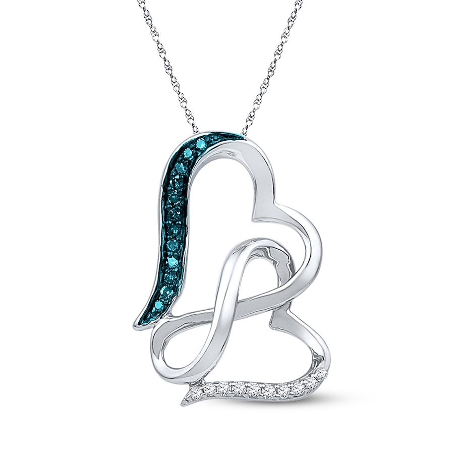 Kay infinity heart necklace 115 cttw blue diamonds sterling silver hover to zoom biocorpaavc Image collections