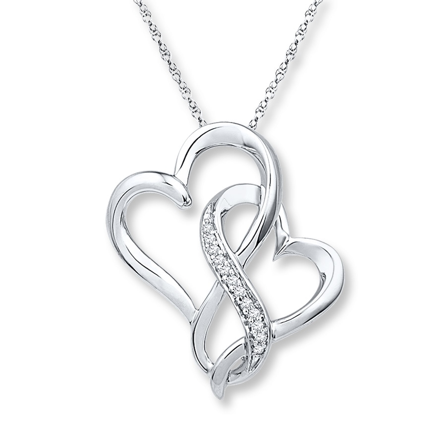 sterling jewellery necklace pendant heart silver with zircon