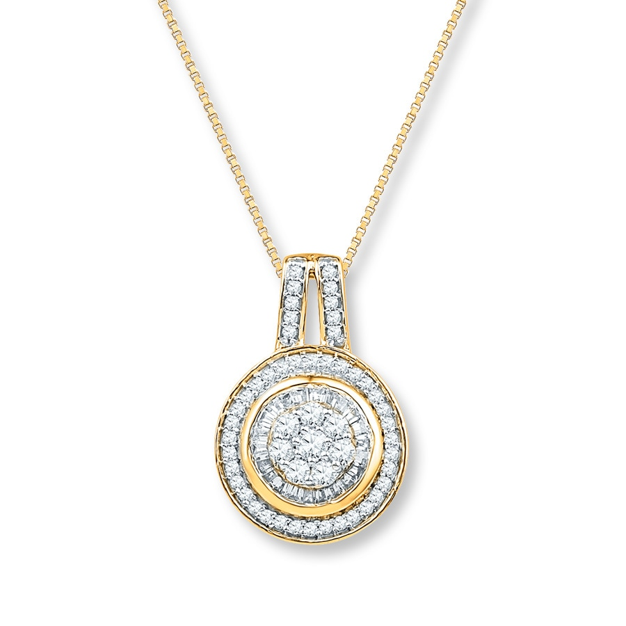 Diamond Necklace 1 2 Ct Tw Baguette Round 10k Yellow Gold