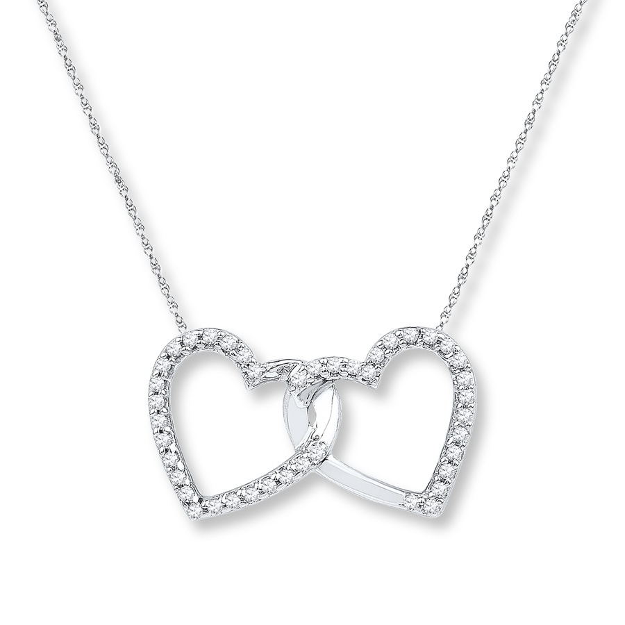 Double Heart Necklace 1 6 Ct Tw Diamonds Sterling Silver