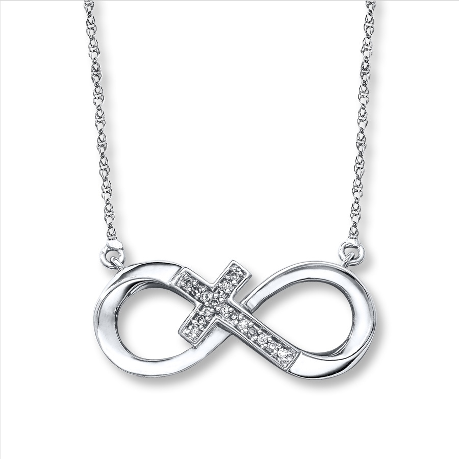 Infinity Cross Necklace 1 20 Ct Tw Diamonds Sterling